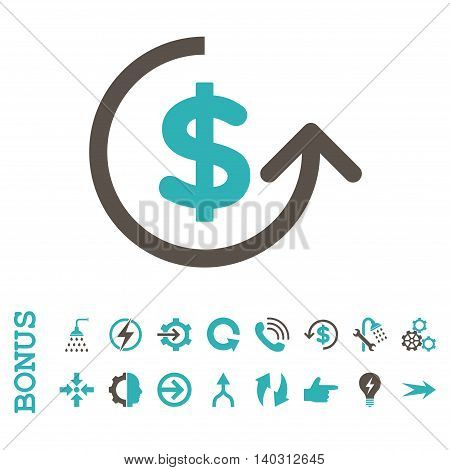 Chargeback glyph bicolor icon. Image style is a flat pictogram symbol, grey and cyan colors, white background.