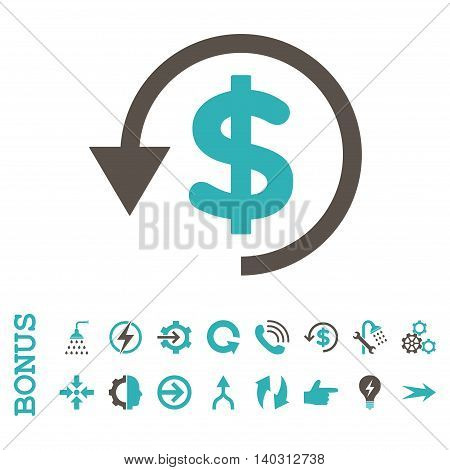 Chargeback glyph bicolor icon. Image style is a flat iconic symbol, grey and cyan colors, white background.