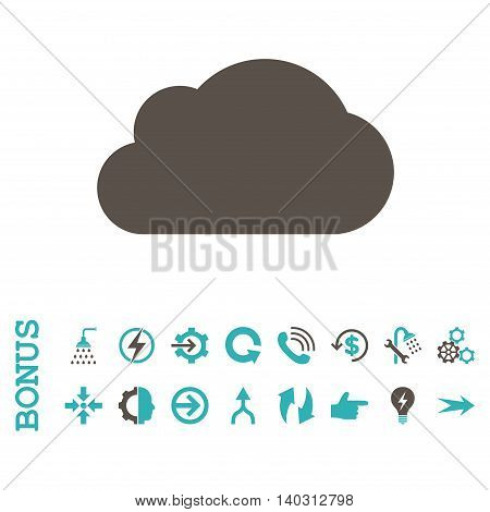 Cloud glyph bicolor icon. Image style is a flat pictogram symbol, grey and cyan colors, white background.