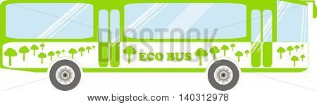Eco series, green and white eco bus on white, vector illustration