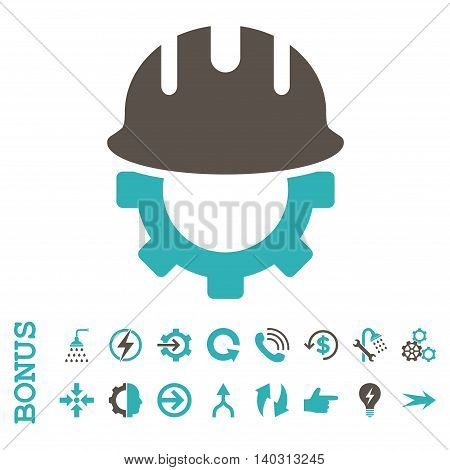 Development Hardhat glyph bicolor icon. Image style is a flat iconic symbol, grey and cyan colors, white background.