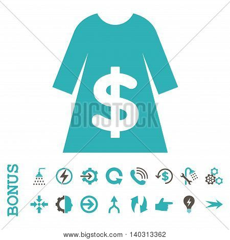 Dress Sale glyph bicolor icon. Image style is a flat iconic symbol, grey and cyan colors, white background.