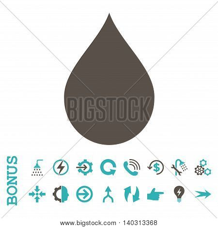 Drop glyph bicolor icon. Image style is a flat iconic symbol, grey and cyan colors, white background.