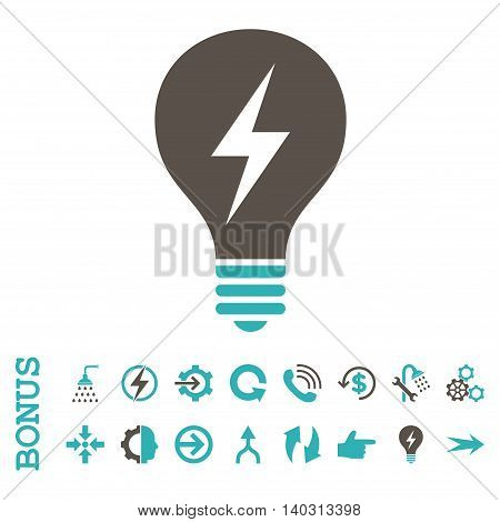 Electric Bulb glyph bicolor icon. Image style is a flat pictogram symbol, grey and cyan colors, white background.