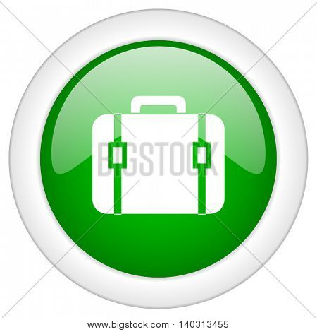 Green glossy web baggage vector icon isolated on white bacground