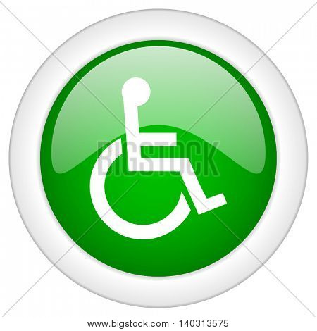 Green glossy web wheelchair vector icon isolated on white bacground