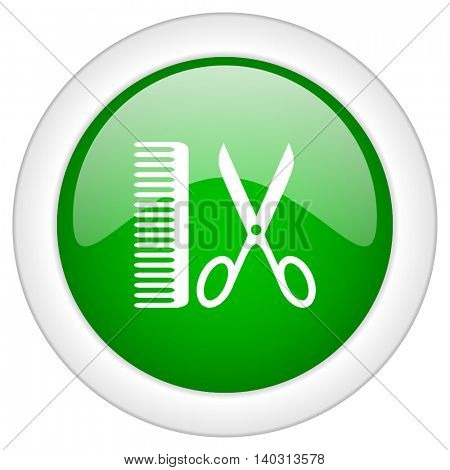 Green glossy web barber vector icon isolated on white bacground
