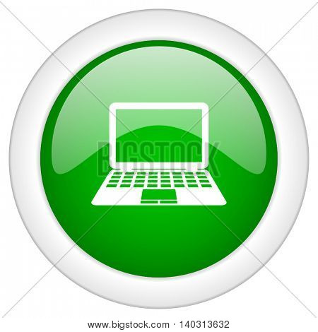Green glossy web laptop vector icon isolated on white bacground