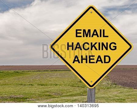 Caution Sign - Email Hacking Ahead Warning