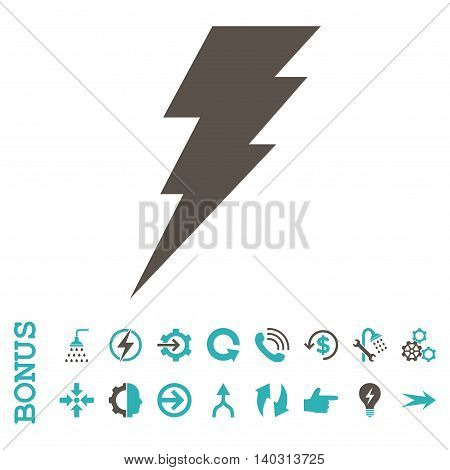 Execute glyph bicolor icon. Image style is a flat iconic symbol, grey and cyan colors, white background.
