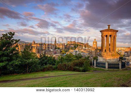View of Edinburgh skyline form top of Calton Hill.