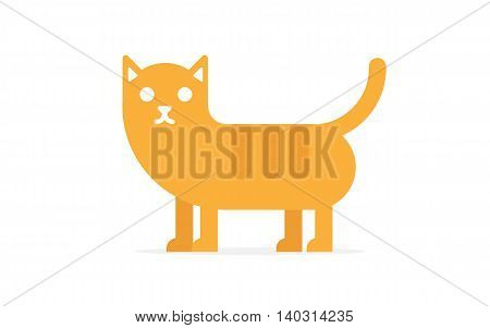 Vector cute happy red cat on white background