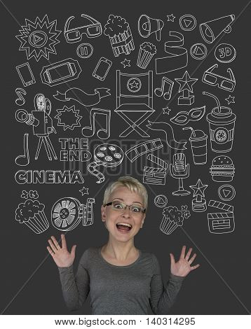 Woman with doodle cinema elements Hand drawn icons