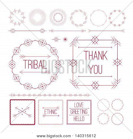 Set of Ethnic ornamental decor elements with arrows, frames and borders in red color isolated on white background. Vector Illustration