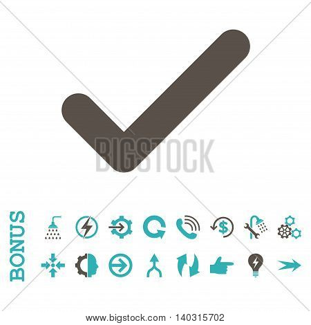 Ok glyph bicolor icon. Image style is a flat iconic symbol, grey and cyan colors, white background.