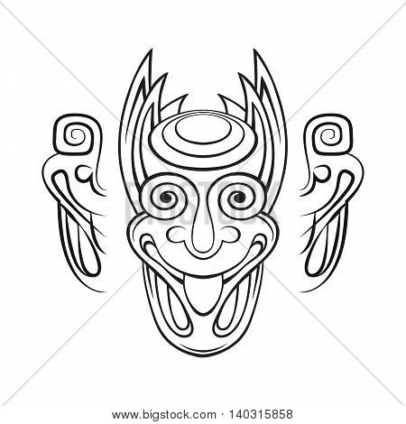 Black and white stylized demon head with horns on a white background