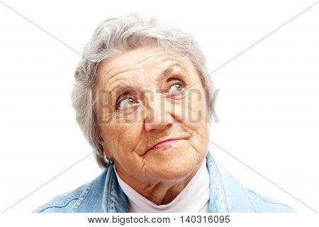Looking old woman portrait on a white background