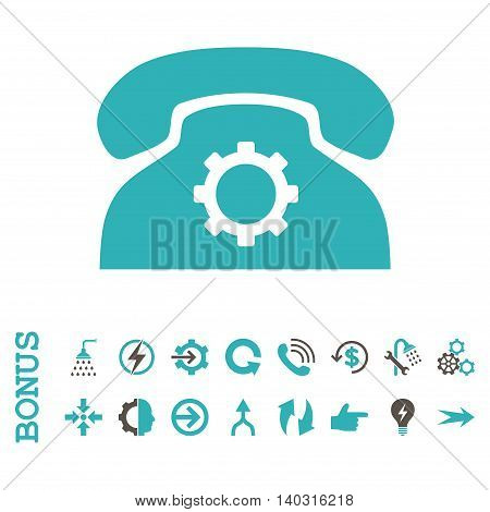 Phone Settings glyph bicolor icon. Image style is a flat iconic symbol, grey and cyan colors, white background.
