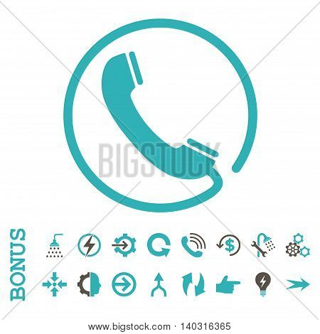 Phone glyph bicolor icon. Image style is a flat iconic symbol, grey and cyan colors, white background.