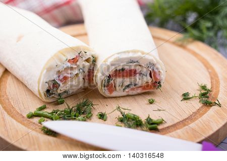 Roll From Red Fish With Cheese And Greens .with The Selective Depth Of Sharpness