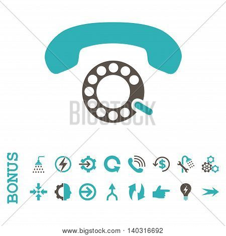 Pulse Dialing glyph bicolor icon. Image style is a flat iconic symbol, grey and cyan colors, white background.
