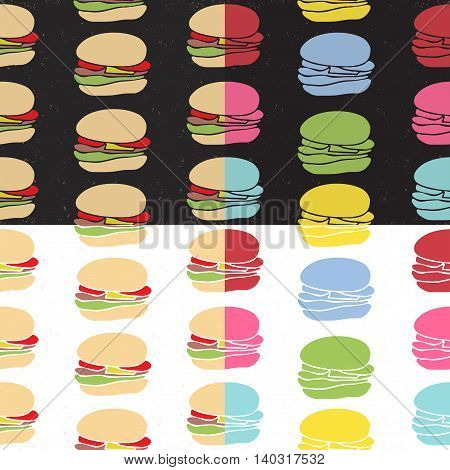 Seamless pattern set of fast food burgers in engraving style. Vintage background for cafe interior or menu design.