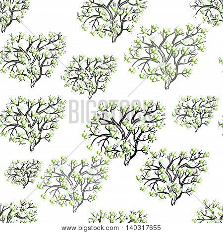 Seamless Pattern Silhouette Tree With Flowers On A White Background. Vector Illustration