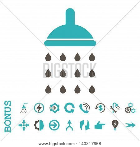 Shower glyph bicolor icon. Image style is a flat pictogram symbol, grey and cyan colors, white background.