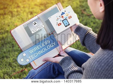 Online Streaming Technology Transfer Wireless Technology Concept