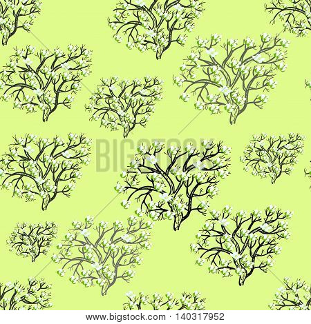 Seamless Pattern Silhouette Tree With Flowers On Light Background. Vector Illustration