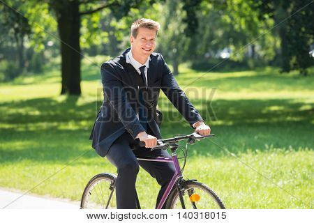Happy Young Male Businessman Riding Bicycle In Park