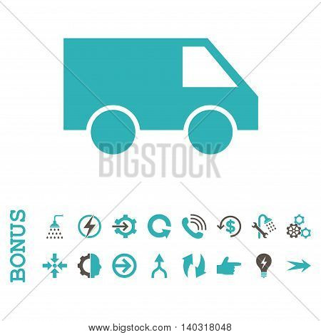 Van glyph bicolor icon. Image style is a flat pictogram symbol, grey and cyan colors, white background.