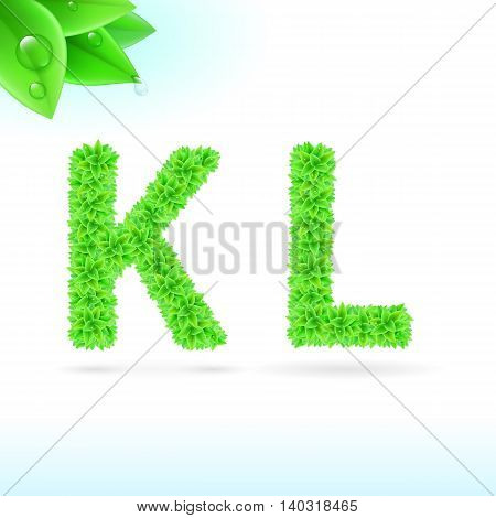 Sans serif font with green leaf decoration on white background. K and L letters
