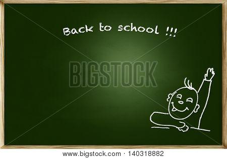 Emotional screaming pupil boy over green chalkboard background