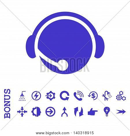 Call Center Operator glyph icon. Image style is a flat iconic symbol, violet color, white background.
