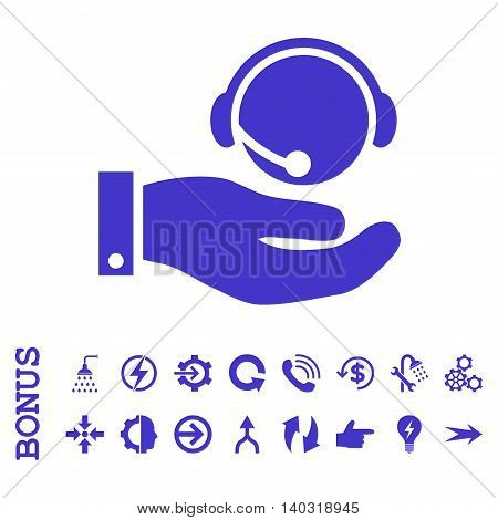 Call Center Service glyph icon. Image style is a flat pictogram symbol, violet color, white background.