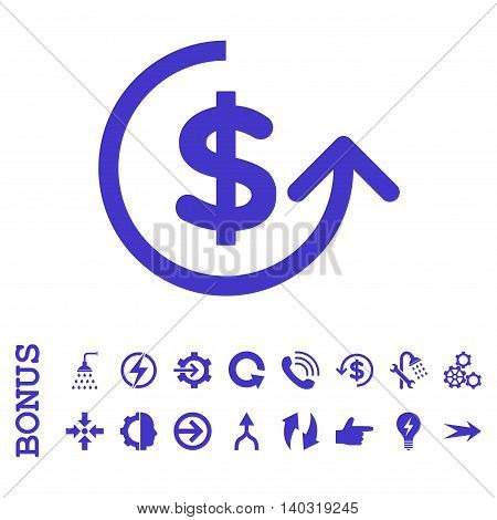 Chargeback glyph icon. Image style is a flat iconic symbol, violet color, white background.