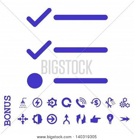 Checklist glyph icon. Image style is a flat pictogram symbol, violet color, white background.