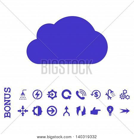 Cloud glyph icon. Image style is a flat pictogram symbol, violet color, white background.