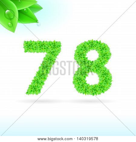 Sans serif font with green leaf decoration on white background. 7 and 8 numerals