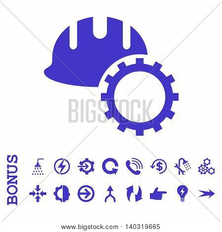Development Hardhat glyph icon. Image style is a flat pictogram symbol, violet color, white background.