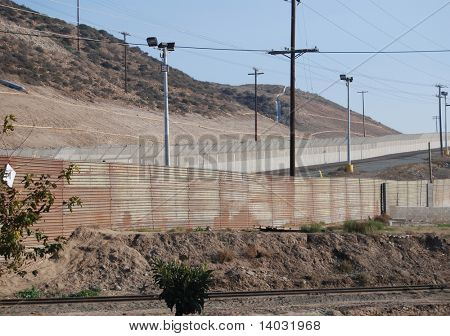 US Mexico border fence on Tijuana side looking into San Diego