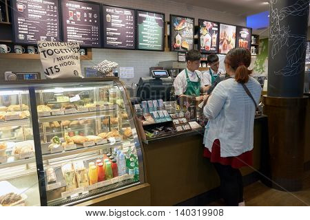SHENZHEN, CHINA - CIRCA MAY, 2016: a sales area in Starbucks at Shenzhen Bao'an International Airport. Starbucks Corporation is an American coffee company and coffeehouse chain.