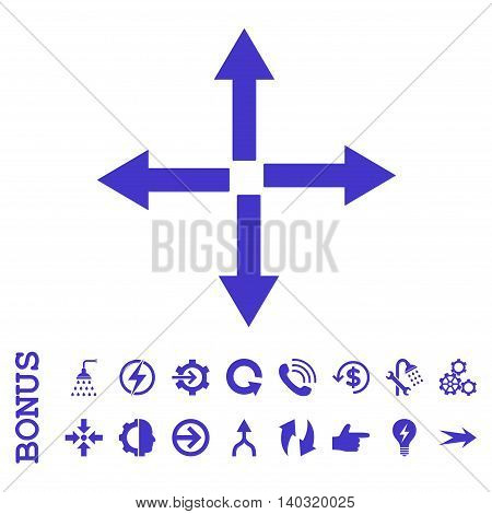 Expand Arrows glyph icon. Image style is a flat pictogram symbol, violet color, white background.