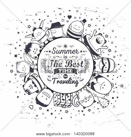 Vector funny monsters with typography lettering summer design. Cool black and white hand drawn characters.