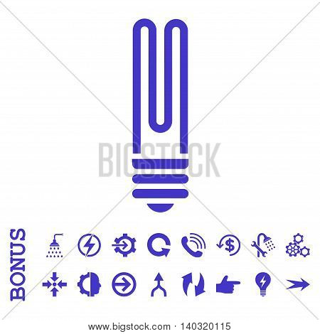 Fluorescent Bulb glyph icon. Image style is a flat iconic symbol, violet color, white background.