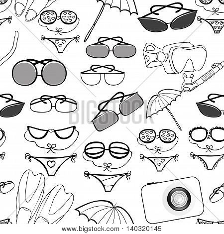 Seamless Pattern Of The Goods For A Beach Holiday. Vector Illustration