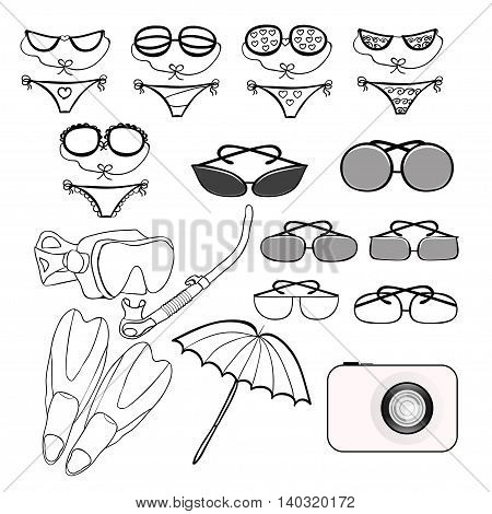 Set Of Goods For A Beach Holiday. Vector Illustration
