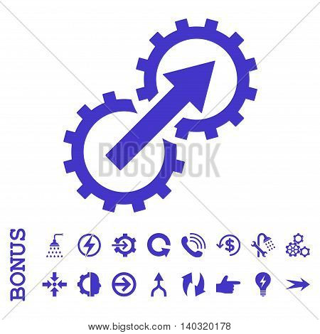 Gear Integration glyph icon. Image style is a flat pictogram symbol, violet color, white background.