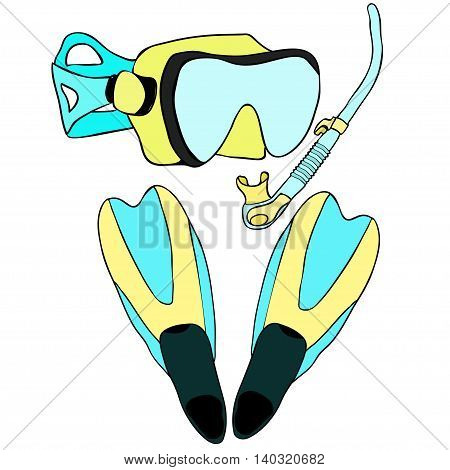 Set With Snorkeling Of Goods. Vector Illustration